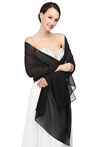 MicBridal® Chiffon Bolero Braut Jacke/Stola/Cape für Brautkleid Hochzeit in verschiedenen Farben (200*45cm, Schwarz)