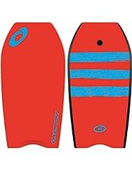 Osprey Bodyboard de rayas con correa, XPE Junta con cola en forma de media luna–37pulgadas, Infantil, XPE Stripe, rojo, na