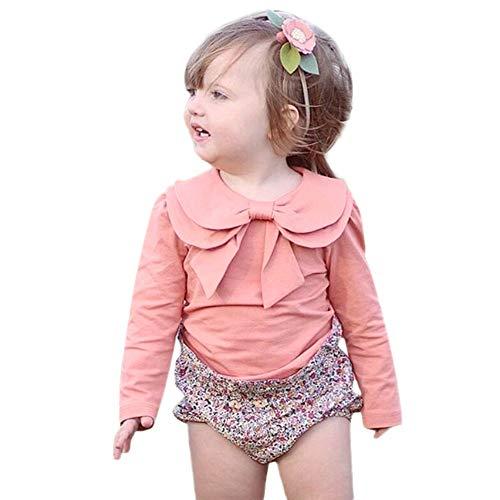 JiaMeng Kleinkind Baby Mädchen Langarm Peter Pan Kragen Solide Bowknot Tops ()