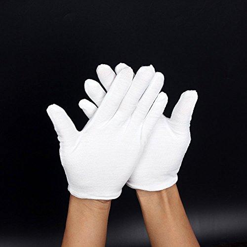 Weiße Baumwollhandschuhe; Fusselfrei. Für Marching Bands, Abendgarderobe oder bei Ekzemen. Soft Hand Handschuhe für Schmuck oder Foto Handhabung. Unisize-Paar.