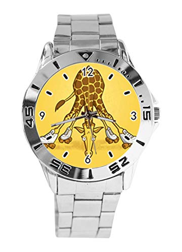 ge Giraffe Custom Design Analog Armbanduhr Quarz Silber Zifferblatt Klassisch Edelstahl Band Damen Herren Armbanduhr ()