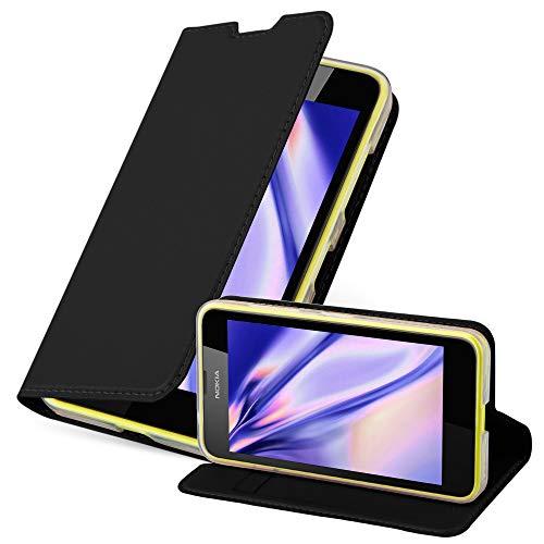 Cadorabo Coque pour Nokia Lumia 630/635 en Classy Noir - Housse Protection avec Fermoire Magnétique, Stand Horizontal et Fente Carte - Portefeuille Etui Poche Folio Case Cover
