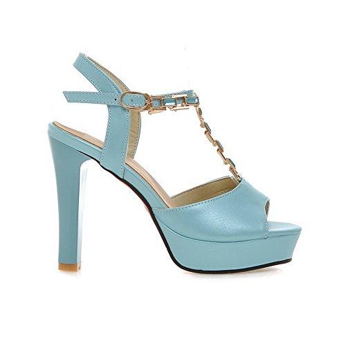 VogueZone009 Donna Fibbia Punta Aperta Tacco Alto Luccichio Puro Sandali Azzurro