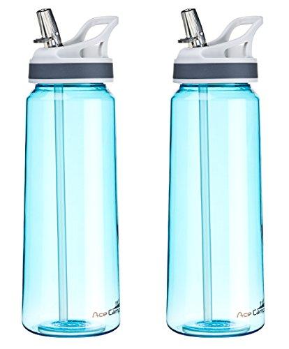 AceCamp 2 x TRITAN Trinkflasche | Wasserflasche auslaufsicher BPA-Frei | Sportflasche Trinkhalm I 800 ml I Doppelpack Blau I 15556