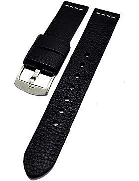 Uhrenarmband Ravenna XL extra lang schwarz 20mm Kalbleder 3898