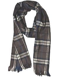 Grey/Blue Men Checked Soft Feel Fashion Winter Scarf