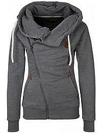 33aea48b597 Newbestyle Women Spring and Autumn Oblique Zipper Hoodies Sweatshirt Coat