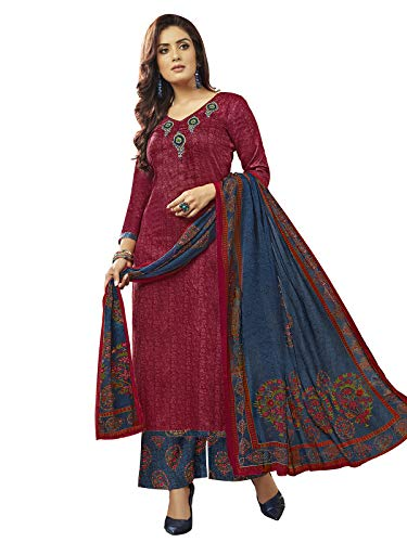 Varayu Women's Cotton Dress Material (765Dj106 _ Maroon _ Free Size)