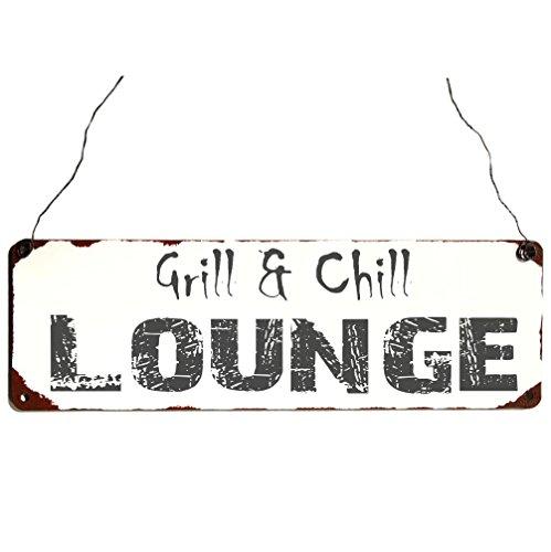 Metallschild Grill & Chill Vintage Shabby Chic Deko Blechschild