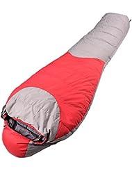 Saco De Dormir Sumergible Terciopelo Terciopelo Grueso Saco De Dormir De Camping Al Aire Libre En Invierno Momia, Rojo