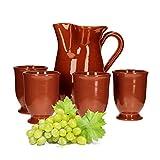 MamboCat 5tlg.-Set: Tonkrug 1L + 4 Tonbecher 200ml Ton-Geschirr robust braun glasiert Servier-Kanne Trink-Tassen mediterrane Küche Wein-Fest Mittelalter-Markt