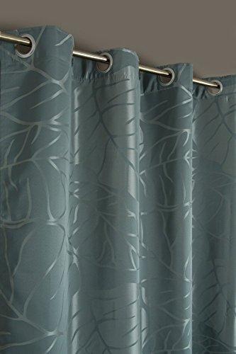Cortina Jacquard Motivo Grandes Hojas 140 x 240 cm