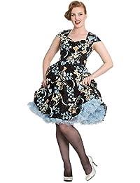 Hell Bunny Luz de la Luna Pájaro Floral 1950s Rockabilly Retro Vintage Swing Vestido de Tarde