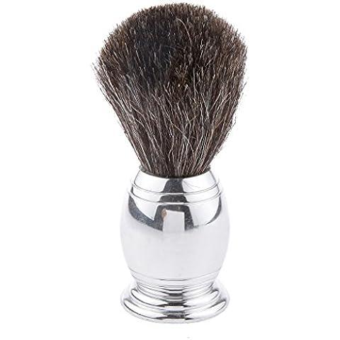 Herramienta Cepillo de Afeitar Cola de Caballo Pelo Aleación Manejar Hombres Perfectos Plata