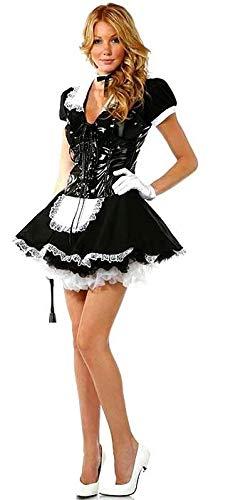 Dienstmädchen Kostüm Französisch - Damen-Kostüm, französisches Dienstmädchen mit PVC-Mieder für Halloween, Größe 42