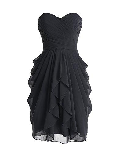 Dressystar Robe soirée/bal courte,de demoiselle d'honneur bustier, bretelles détachables, en Mousseline Taille 42 Noir -US10