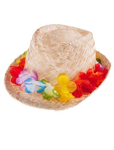 Strohhut mit Blumenkette keine (Hawaii Mottoparty Outfit)