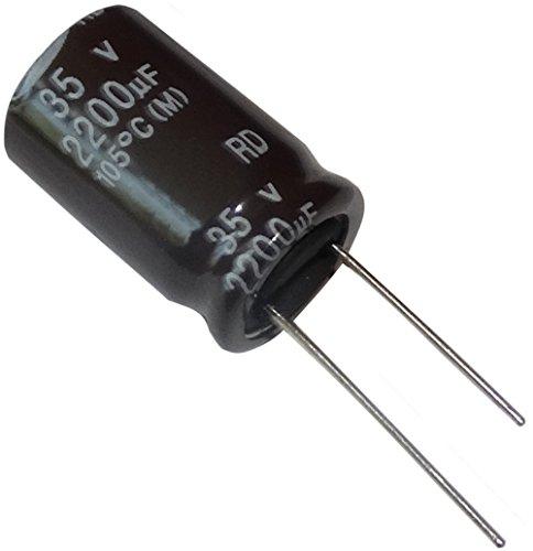 Aerzetix: 5x chemischen Elektrolytkondensator 2200μF ± 35V 20W% THT Radial 105C 2000h Ø16x25mm (X-amp Radial)