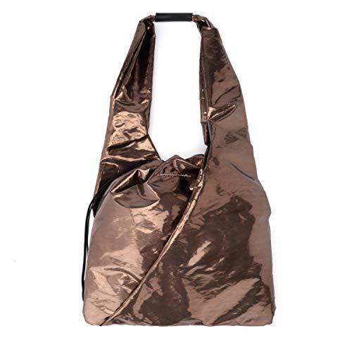 Shopper MM6 Maison Margiela bronzefarber laminierter Stoff -