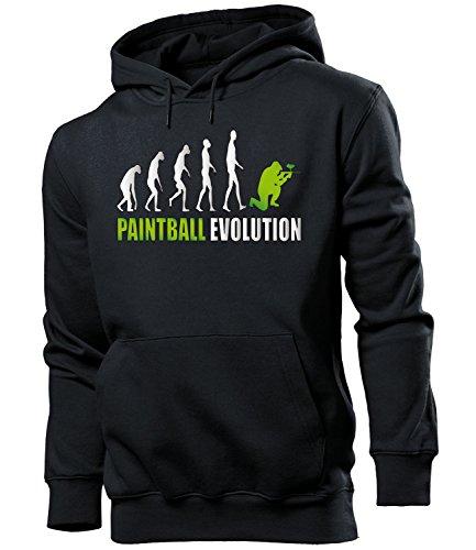 love-all-my-shirts Paintball Evolution 2056 Sport Männer Herren Hoodie Pulli Kapuzen Pullover Kapuzenpullover Sportbekleidung Sport Schwarz aufdruck Grün L