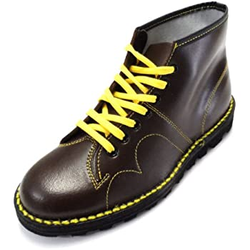 retro mod unisex leather monkey boots in black and oxblood (12, oxbood)