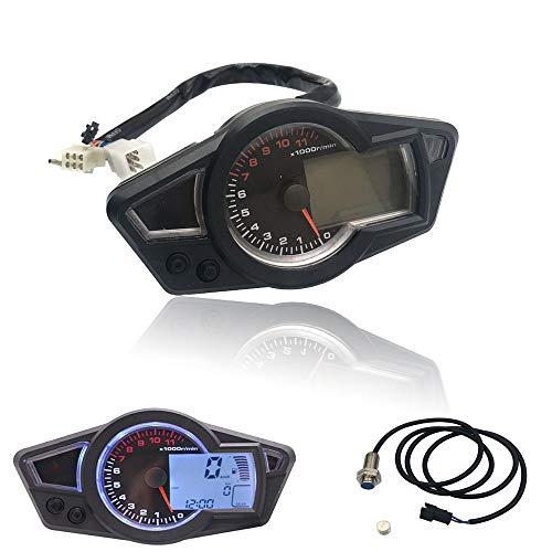 CHUDAN LCD-Meter für Motorräder LCD-Instrument Kilometerzähler Digitales Elektronische Tacho Ölzähler