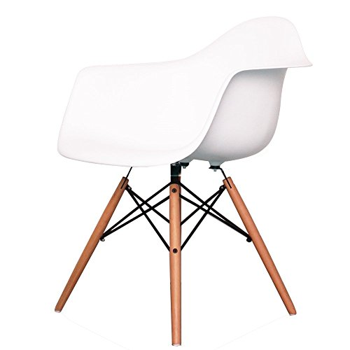 Charles Eames Style Cool White Plastic Retro Armchair