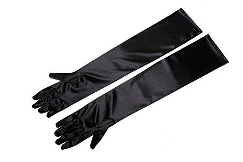 UTOPIAT Frauen schwarz Satin Handschuhe - Ellenbogen lange Oper Länge - Frühstück bei Tiffany Kostüm (Erwachsene Größe, über Ellenbogen)