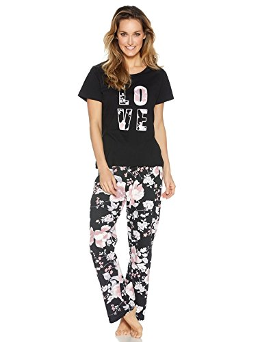 MCo-Ladies-Pure-Cotton-Love-Slogan-Floral-Print-Short-Sleeve-Top-And-Full-Length-Trousers-Pyjama-Set