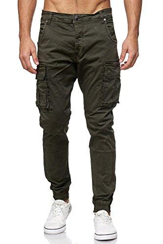 Denim Cargo Jeans (MEGASTYL Herren Cargo Jeans-Hose Olivgrün Elastischer Bund , Größe:W28 / L32, Farbe:Oliv M2)