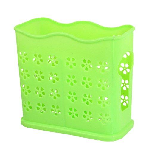 Fleur Perforation Holder 2 Compartments Baguettes Cuillère Cage Vert