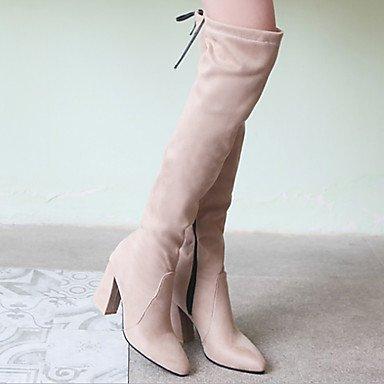 Zapatos De Mujer Pu (poliuretano) Otoño Invierno Cómodas Botas Innovadoras Botines Cuadrados Acentuados Botas Altas De Muslo Cordones Para Rubor Rosado