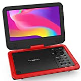 "COOAU 12.5"" Portable DVD Player with Eye-Protected HD Swivel Screen, 5-Hours Rechargeable Battery, Support Region Free, USB/SD Card, Sync Screen Playing, Red"