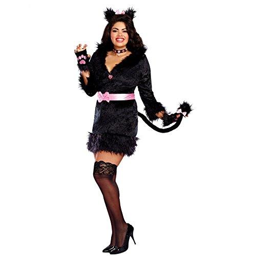 Dreamgirl XXL Katzenkostüm Kleid Black Kitty Tierkostüm Übergröße Fasching (XXL)