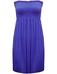 LADIES BOOBTUBE STRAPLESS BANDEAU SHEERING TOP DRESS SIZE 8-20 (MED/LRG (12-14), BLUE)