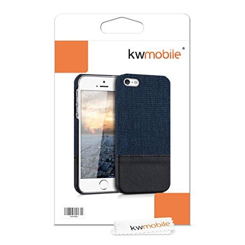 kwmobile Étui rigide housse en toile pour Apple iPhone SE / 5 / 5S avec applications en cuir synthétique - coque verso étui housse de protection cover en bleu foncé noir .bleu foncé noir