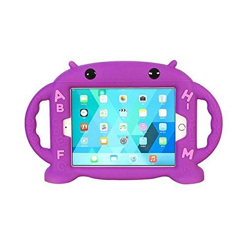 CHIN FAI iPad Mini Hülle für Kinder Stoßfest Silikon Gummi Abdeckung Cartoon Roboter Stand Fall mit Griffen für Apple iPad Mini 1 / Mini 2 / Mini 3 / Mini 4/ Mini 5 (Lila) (Apple Ipad Kinder Fall)