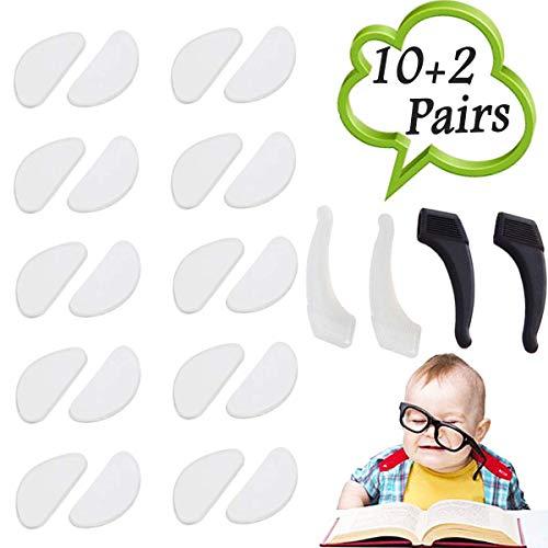 10 Paar Silikon Rutschfeste Nasenpads (1 mm) + 2 Paar Ohrhaken Grip Holder Anti Rutsch Halter für Brillen Sonnenbrillen Brillen, Klar und Schwarzv