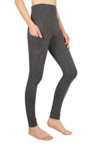 Lantch Damen Leggings Hohe Taille Yoga Fitnesshose Lange Sporthose mit Tasche(gy,2XL)