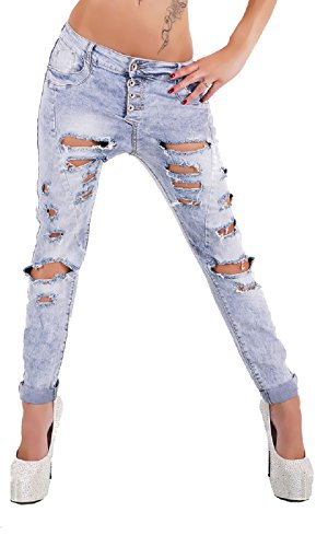 realty Women's Skinny Tube Jeans With Cracks, Farbe:Jeans, Größe:L