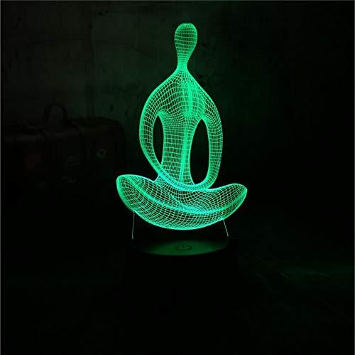 Hot 3d nachtlicht schreibtisch tischlampe yoga meditation indien tradition frieden 7 farbe tragbare laterne kinder geschenk home decro