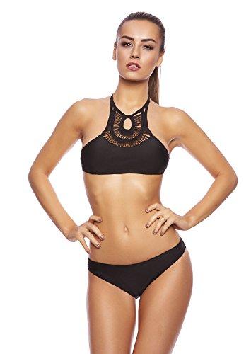 Eleganter Push Up Badeanzug / Soft Cups Bikini 2tlg. Set / Bandeau / Octopus / Schlanke Silhouette / verschiedene Muster f6016 Farbe: B7(sw) Bikini 2tlg. Schwarz, Gr. 42 (Neckholder Soft-cup Bikini-top)