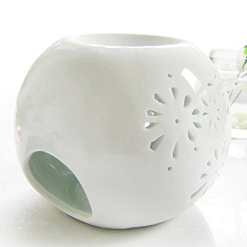 DEBON Creative milchweiße Aromalampe aus Keramik mit Blumenmuster als Diffusor für ätherisches Öl, für Teelichter geeignet (C)
