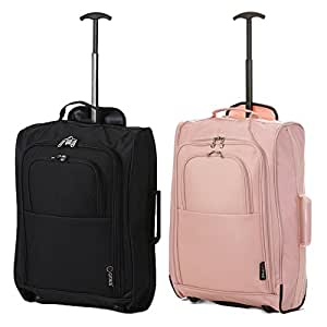 Set of 2 Super Lightweight Cabin Approved Luggage Travel Wheely Suitcase Wheeled Bags Bag (Black + Rose Gold)