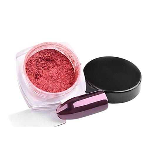 zahuihuiM, Miroir argent ongles pigments de chrome poudre flash nail art bricolage poudre 2 g (Or rose)