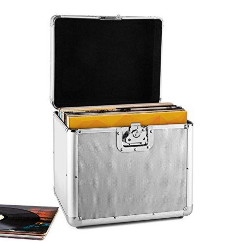 resident dj Zeitkapsel • Plattenkoffer • Aluminium-Koffer • Vinyl-Case • Schallplattenkoffer • für 70 LP • Klappdeckel • Aluminium-Profile • Schutzkanten • Schutzecken • Metallscharniere • Butterfly-Verschluss • abschliessbar • Tragehenkel • silber (Platte-aufbewahrungsbox)
