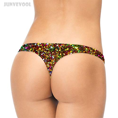 GZGJNK Pailletten Tanga Shinny Hosen Frauen Damen Lustige Dessous 3D Geometrie Gedruckt G-String T-Back Panty Thongs Panties Briefs Unterwäsche -