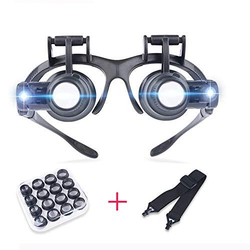 Koimg 2Led Lupenbrille Mit Licht - Lupe 2.5X,4X,6X,8X,10X,15X,20X,25X Abnehmbare Linsen - Kopfbandlupe Stirnlupe Brillenlupe Für Brillenträger, Lesen, Handwerk, Juweliere, Nähen,Reparatur