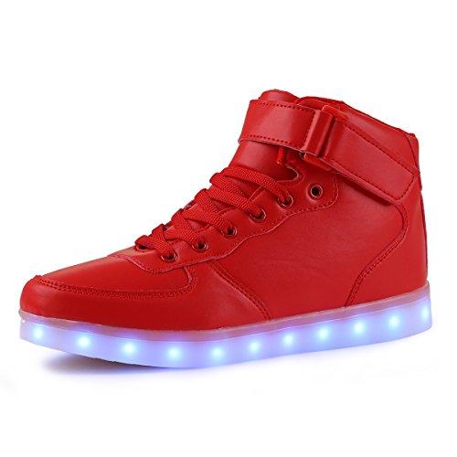 AFFINEST Unisex High Top USB Aufladen 7 Farben Blitzen Damen Turnschuhe Leuchtende Sneaker Für Herren Damen Kinder(EUR46 ,Rot) (Sportliche Halloween Kostüme)