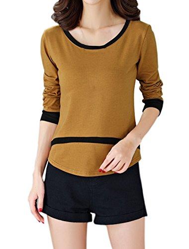 sourcingmap Damen Langärmelig Kontrastfarbe Halbrunder Saum Top Sweatshirt Braun
